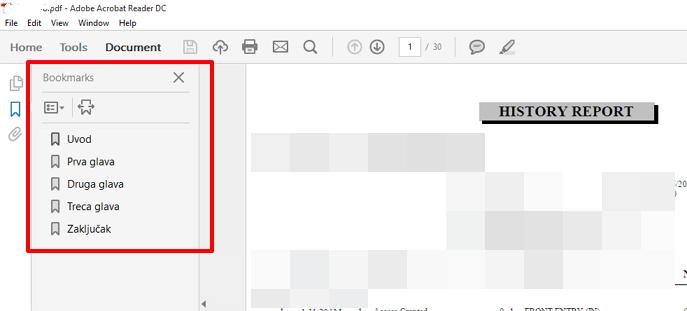 Kako dodati obeleživač u PDF dokument?
