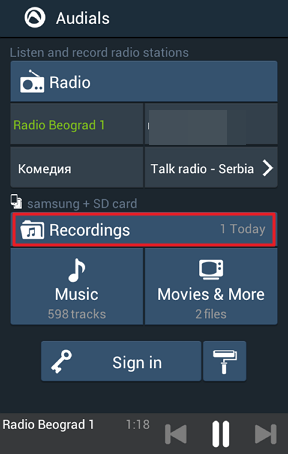 snimci muzickih stanica na telefonu