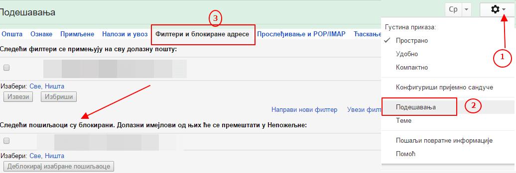 blokirani posaljilaoci gmail