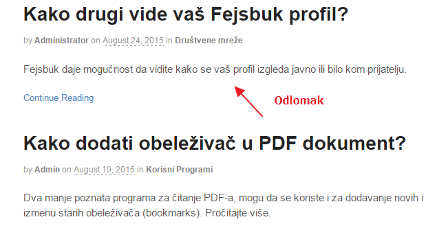 wordpress odlomak