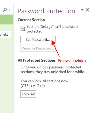 postavi lozinku onenote