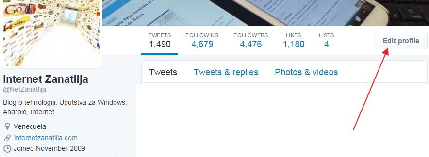izmeni profil tviter