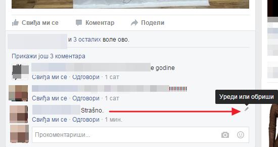 uredi komentar na fejsbuku
