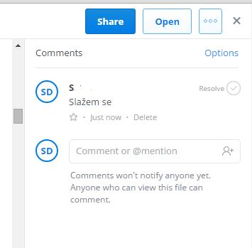 komentarisati dokument u dropboxu