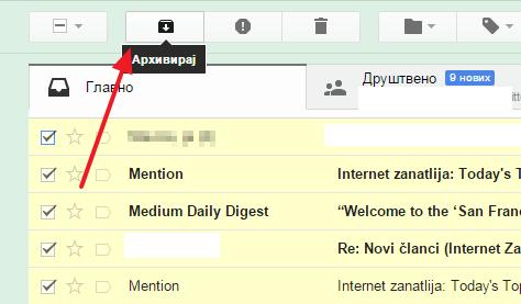 arhiviranje poruka gmail