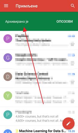 arhiviranje poruka na telefonu