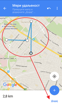 meri udaljenost na mapi mobilni telefon