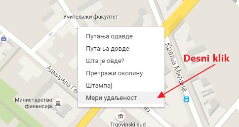 meri udaljenost na mapi