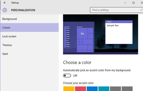 odaberite boju windows 10 menija