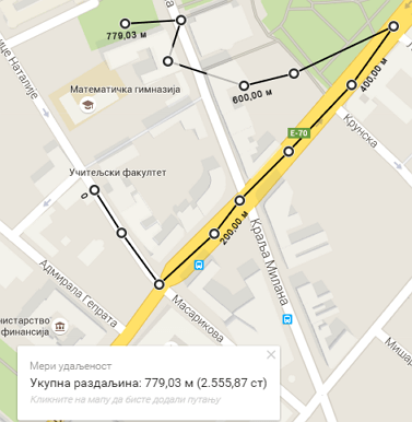 ukupna razdaljina na mapi