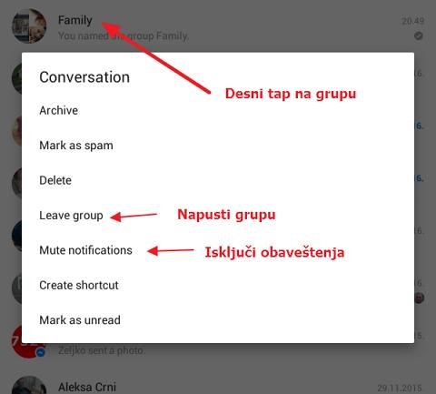 iskljuci obavestenja u grupi