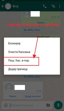 whatsapp posalji na email