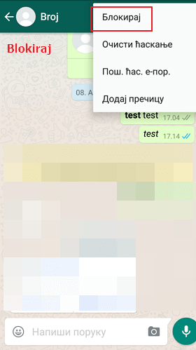 blokiraj whatsapp kontakt