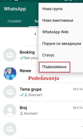 podesavanja na whatsappu
